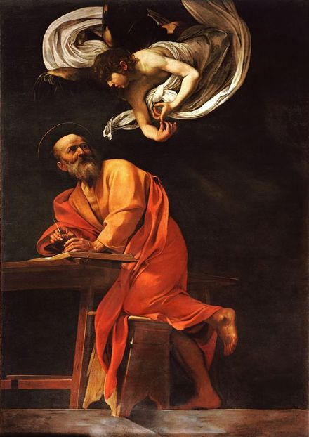 Caravaggio, Michelangelo Merisi da: The Inspiration of Saint Matthew. Fine Art Print.  (002079)